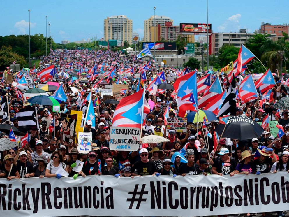 PHOTO: Thousands of Puerto Ricans gather for what many are expecting to be one of the biggest protests ever seen in the U.S. territory, San Juan, Puerto Rico, July 22, 2019.