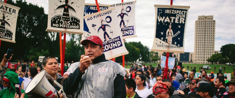 PHOTO: David Archambault II, chairman of the the Standing Rock Sioux, speaks at a rally outside the North Dakota State Capitol in Bismarck, Sept. 9, 2016.