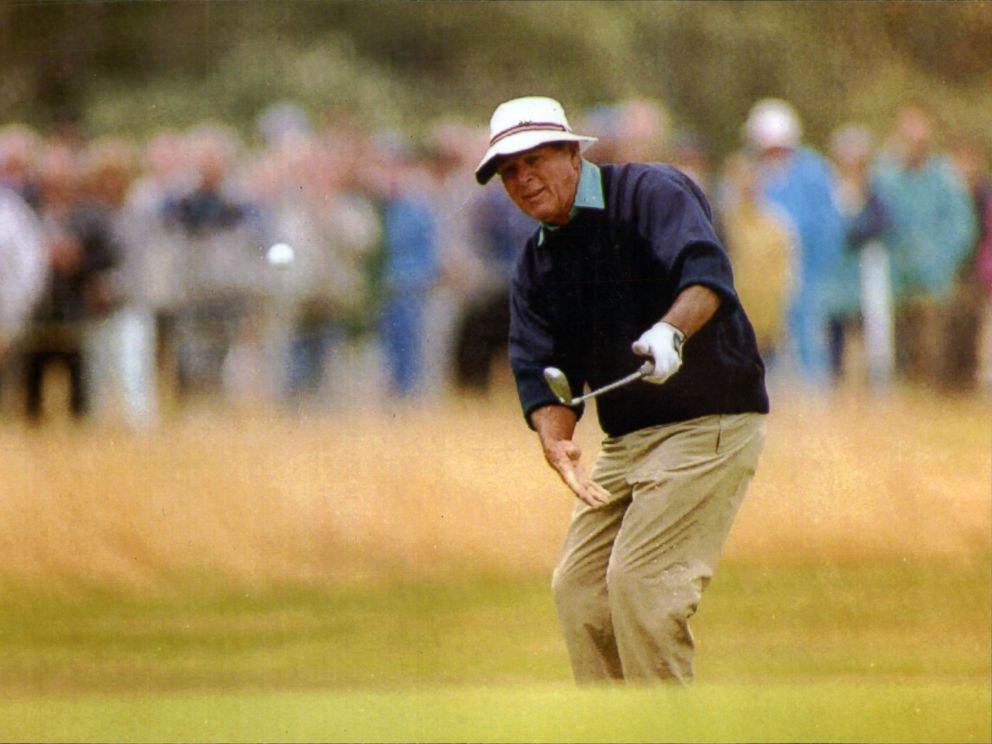 PHOTO: Golfer Arnold Palmer plays golf in this 1992 file photo at the British Seniors Open At The Royal Lytham St Annes Course.