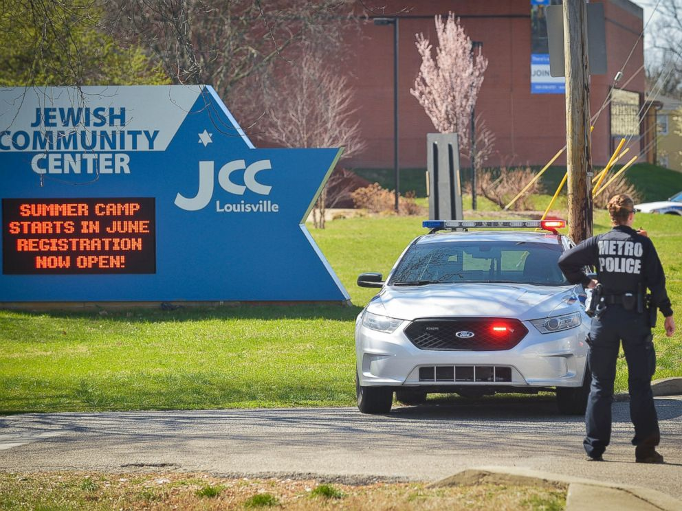 PHOTO: A police officer blocks an entrance as officials respond to a bomb threat at the Jewish Community Center in Louisville, Ky., March 8, 2017.
