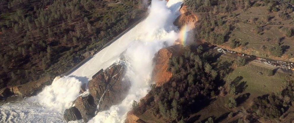 PHOTO: A damaged spillway with eroded hillside is seen in an aerial photo taken over the Oroville Dam in Oroville, California, Feb. 11, 2017.