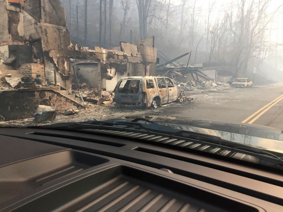 PHOTO: Burned buildings and cars aftermath of wildfire is seen in this image released in social media by Tennessee Highway Patrol in Gatlinburg, Tennessee, on Nov. 29, 2016.