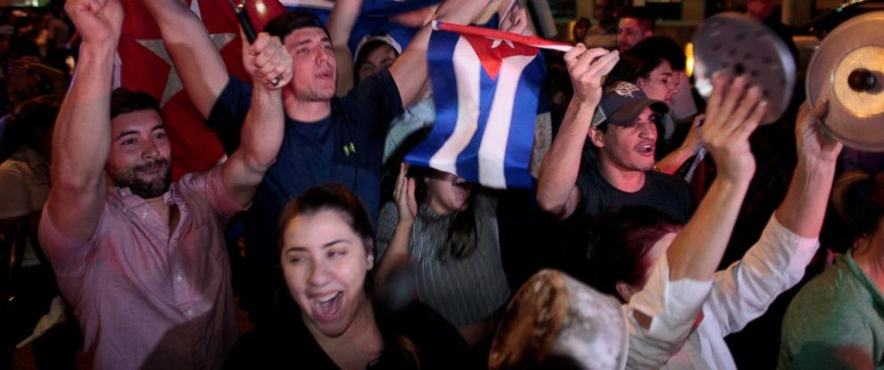 PHOTO: People celebrate after the announcement of the death of Cuban revolutionary leader Fidel Castro, in the Little Havana district of Miami, Nov. 26, 2016.