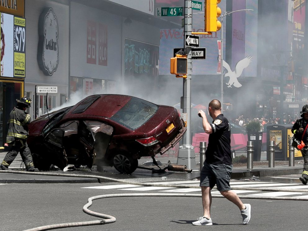 PHOTO: A vehicle that struck pedestrians and later crashed is seen on the sidewalk in Times Square in New York City, May 18, 2017.