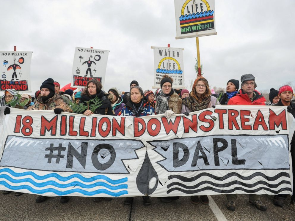 PHOTO: Protesters block highway 1806 in Mandan during a protest against plans to pass the Dakota Access pipeline near the Standing Rock Indian Reservation, North Dakota, Nov. 23, 2016.