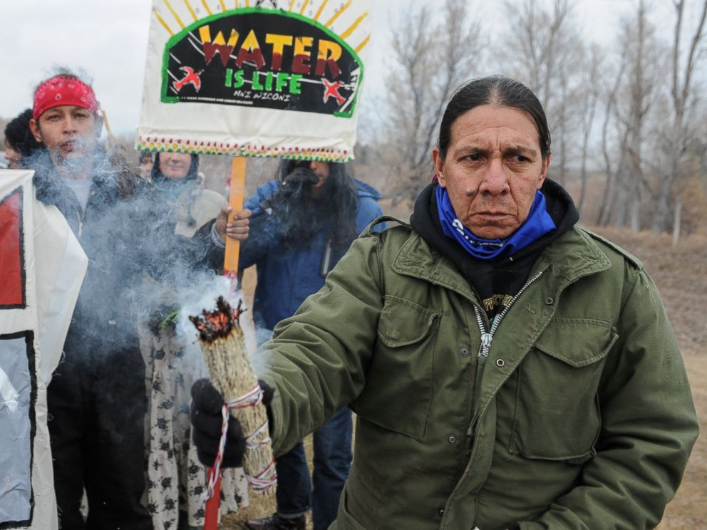 PHOTO: Protesters block highway 1806 in Mandan during a protest against plans to pass the Dakota Access pipeline near the Standing Rock Indian Reservation in North Dakota, Nov. 23, 2016.