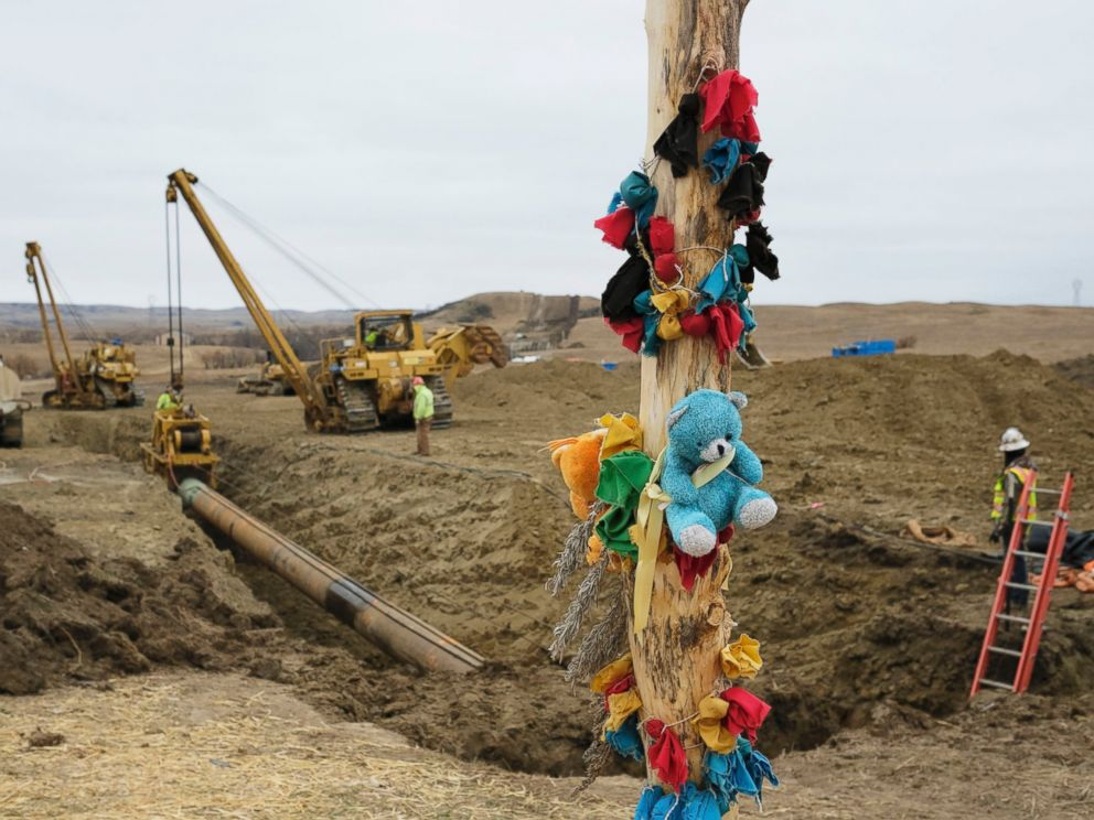 PHOTO: A log adorned with colorful decorations remains at a Dakota Access Pipeline protest encampment as construction work continues on the pipeline near the town of Cannon Ball, North Dakota, Oct. 30, 2016.
