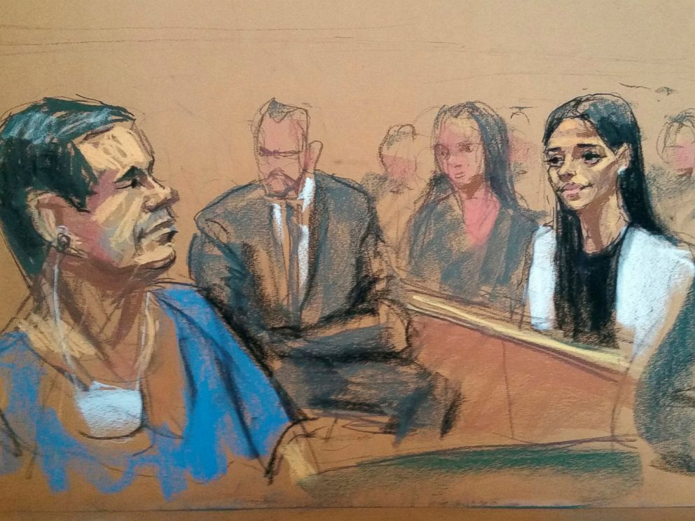 PHOTO: Joaquin El Chapo Guzman smiles at his wife, Emma Coronel, in a sketch of a court appearance at the Brooklyn Federal Courthouse in Brooklyn, New York, May 5, 2017.