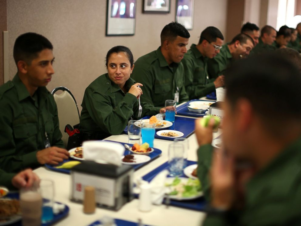PHOTO: Border patrol trainee Stevany Shakare eats lunch with other trainees at the United States Border Patrol Academy in Artesia, New Mexico, June 8, 2017.