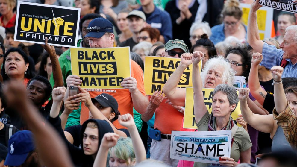 People protest in support of Philando Castile during a rally on the capitol steps after a jury found St. Anthony Police Department officer Jeronimo Yanez not guilty of second-degree manslaughter in the death of Castile, in St. Paul, Minn., June 16, 2017.