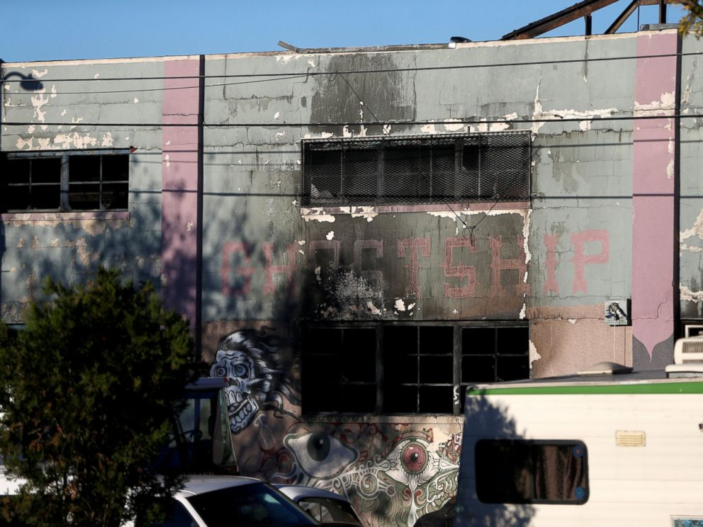 PHOTO: A charred wall is seen outside a warehouse after a fire broke out during an electronic dance party late Friday evening, resulting in at least nine deaths and many unaccounted for in Oakland, California, Dec. 3, 2016.