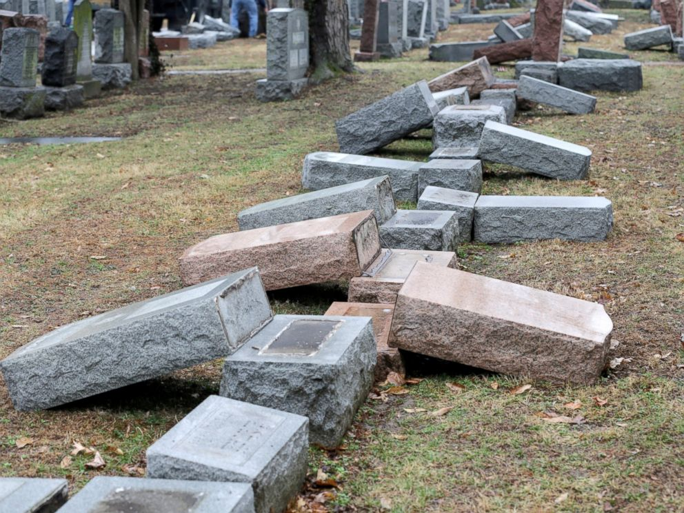 PHOTO: A row of toppled Jewish headstones is seen after a weekend vandalism attack on Chesed Shel Emeth Cemetery in University City, a suburb of St Louis, Missouri, Feb. 21, 2017.