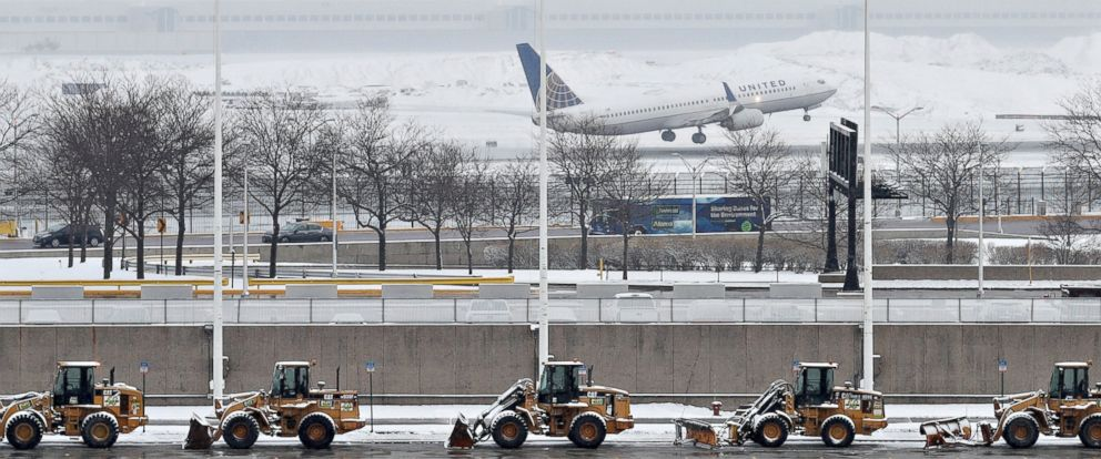 PHOTO: An United Airlines plane departs during the snowstorm at OHare International Airport in Chicago, March 13, 2017. Some areas received up to 5 inches of snow, and more than 400 flights were cancelled at OHare.
