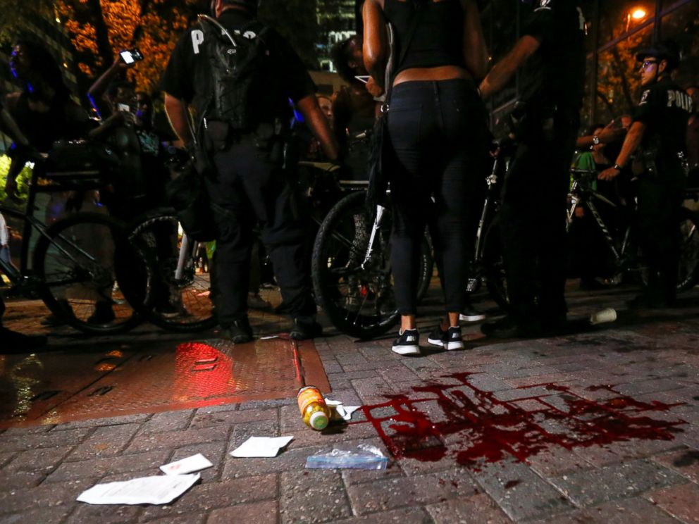 PHOTO: Blood covers the pavement where a person was shot in Charlotte, North Carolina during a protest, Sept. 21, 2016.