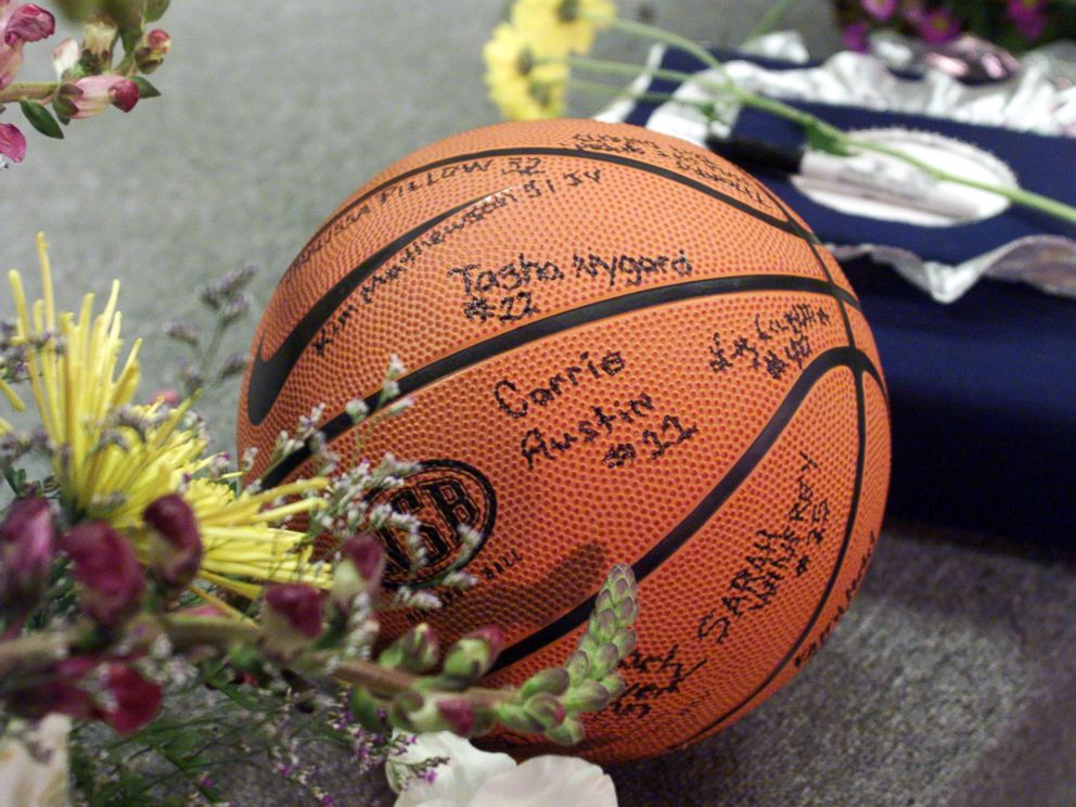 PHOTO: A basketball signed by the Columbine girls team sits near Dave Sanders casket April 26, 1999 prior to the start of the teachers funeral service in Littleton, Colo.