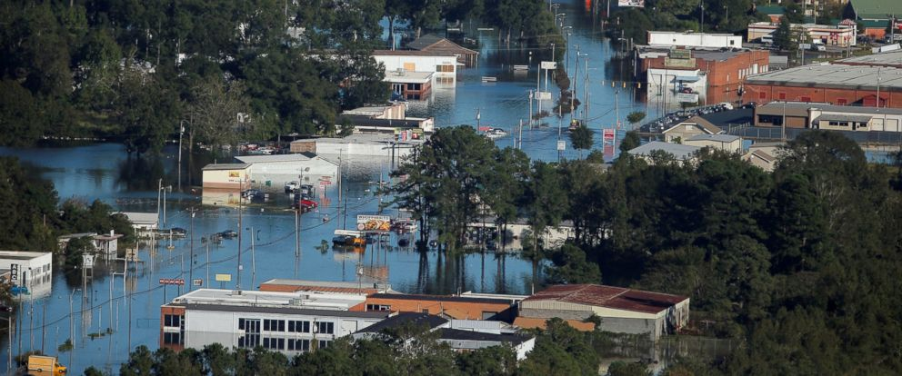 PHOTO: An aerial view shows flood waters after Hurricane Matthew, on Oct. 10, 2016, in Lumberton, North Carolina.