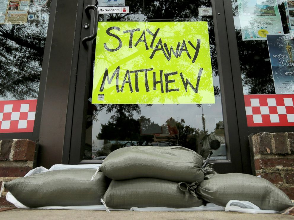 PHOTO: Sandbags are seen in front of a business ahead of Hurricane Matthew in Georgetown, South Carolina, Oct. 6, 2016.