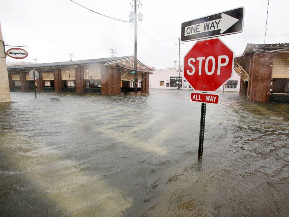 PHOTO: Flood waters submerge the historic city market area as Hurricane Matthew hits Charleston, South Carolina, Oct. 8, 2016.