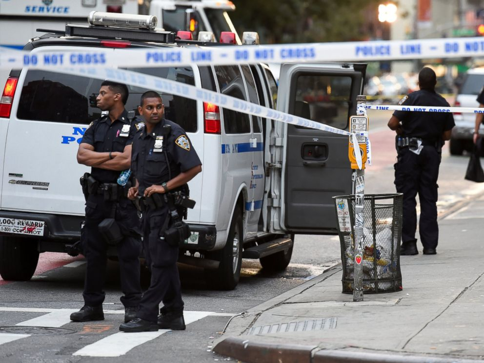 PHOTO: New York City Police Department (NYPD) officers stand near the site of an explosion in Manhattans Chelsea neighborhood in New York, Sept. 18, 2016.