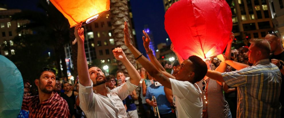 PHOTO: Well-wishers release floating lanterns during a vigil in memory of victims of a mass shooting at the Pulse night club in Orlando, Fla., June 13, 2016.