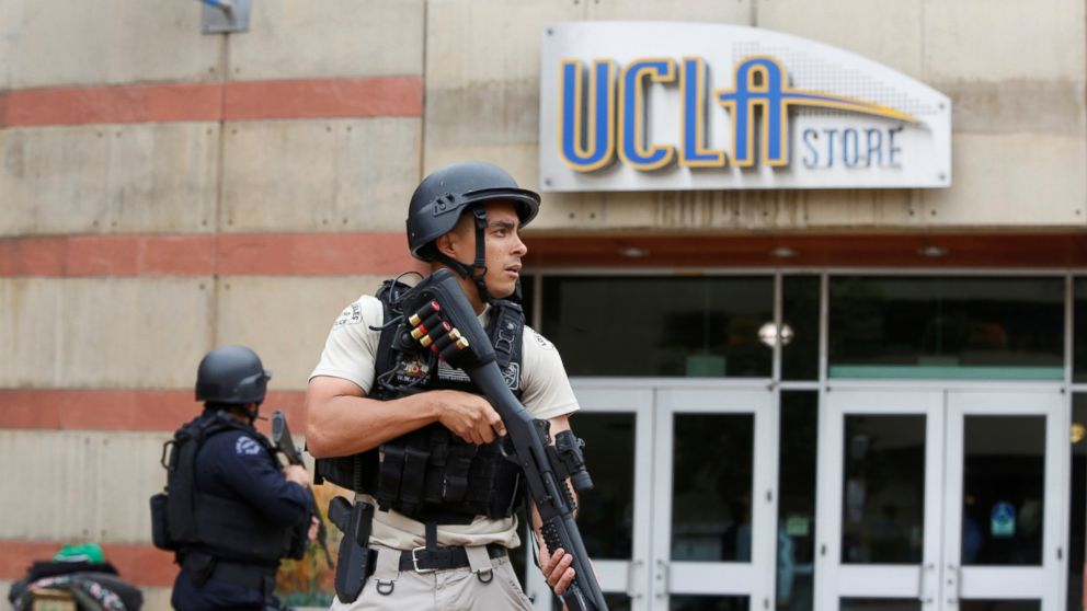 A Los Angeles Metro Police officer stands watch on the University of California, Los Angeles campus after it was placed on lockdown following reports of a shooter in Los Angeles, June 1, 2016.