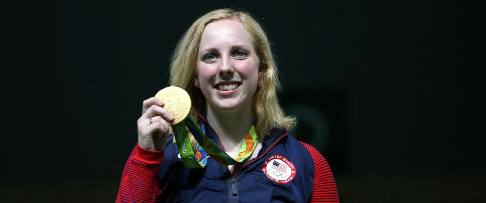 PHOTO: Virginia Thrasher of the United States poses with her gold medal in the Womens 10m Air Rifle event at Olympic Shooting Center during the 2016 Summer Olympics in Rio de Janeiro, Aug. 6, 2016.