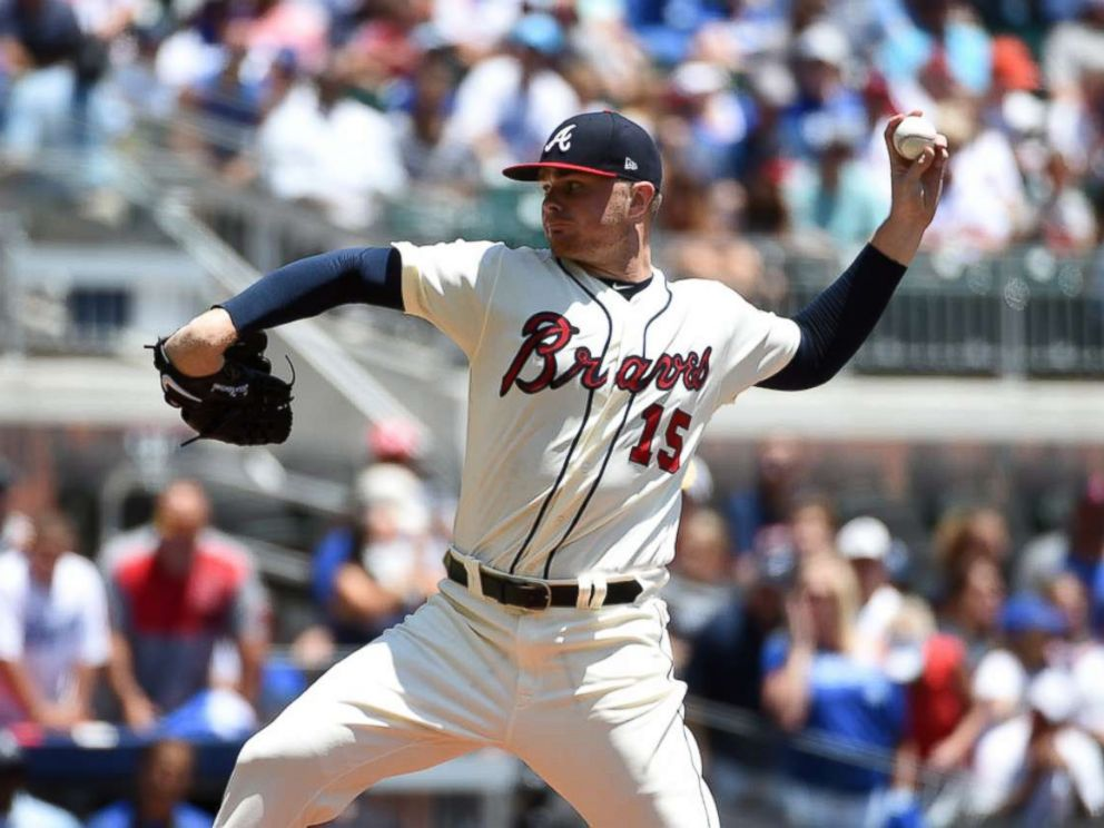 PHOTO: Atlanta Braves starting pitcher Sean Newcomb on the mound against the Los Angeles Dodgers during the first inning at SunTrust Park.