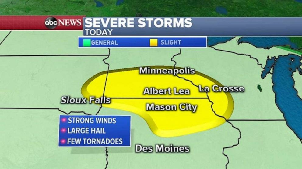 PHOTO: Severe storms will move into the Midwest from South Dakota, to Minnesota, Iowa and Wisconsin.