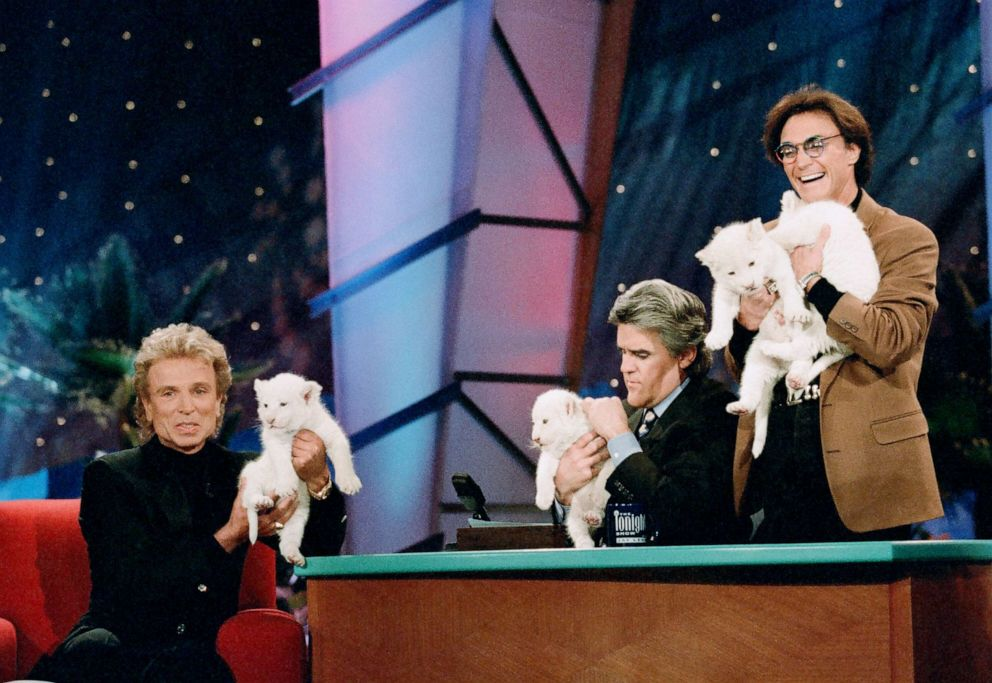 PHOTO: Siegfried & Roy during an interview with host Jay Leno on The Tonight Show with Jay Leno on Feb. 5, 1997.