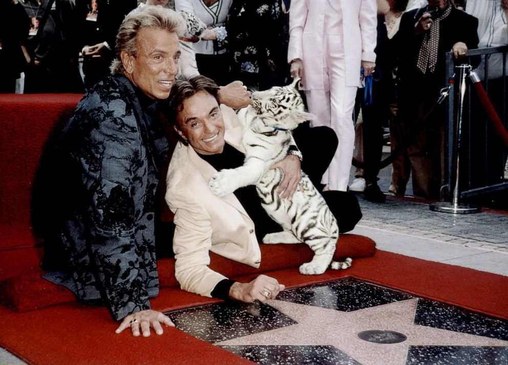 PHOTO: Siegfried & Roy honored with a Star on the Hollywood Walk of Fame on Sept. 23, 1999 in Los Angeles.