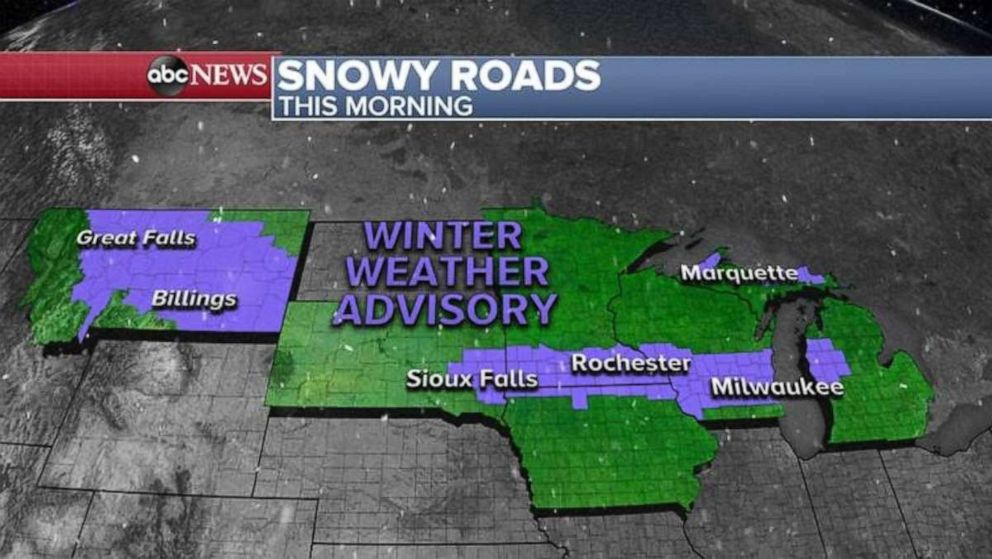 PHOTO: 6 states this morning are under a Winter Weather Advisory for slick roads due to snow and freezing temperatures.