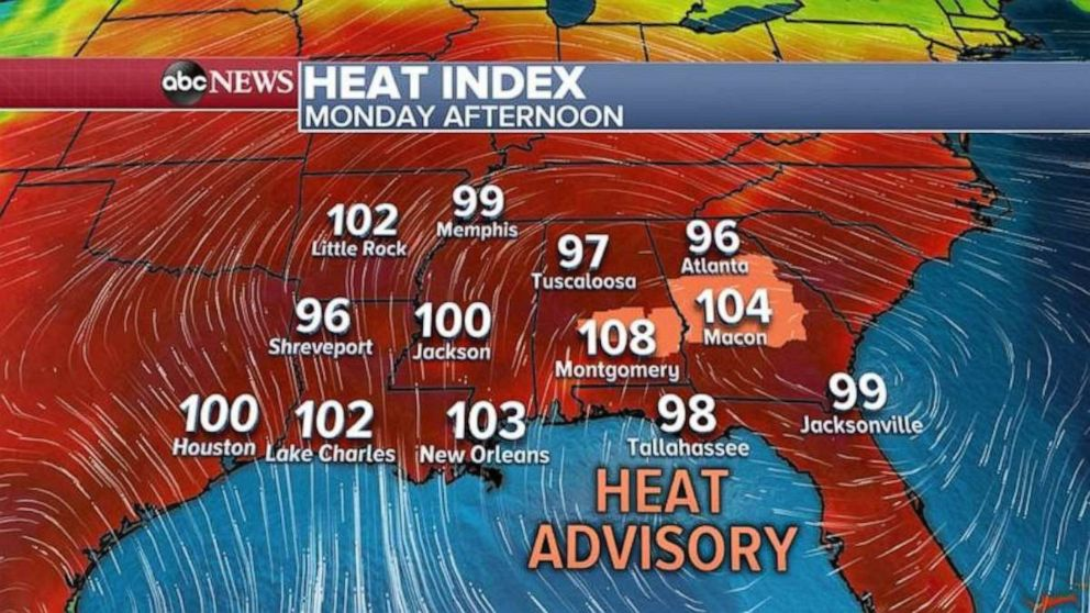 PHOTO: A severe heatwave will blanket the Southeast today with many areas topping triple digits.