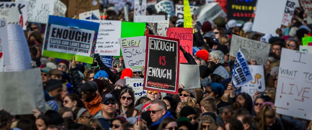 PHOTO: Students from Marjory Stoneman Douglas High School in Florida, the scene of a mass shooting Feb. 14, were joined by over 800 thousand people as they marched in a nationwide protest demanding sensible gun control laws, March 24, 2018 in Washington.