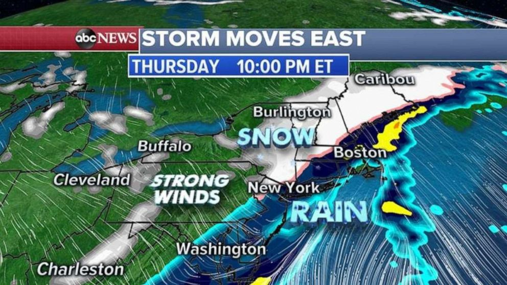 PHOTO: By Thursday late afternoon, this cold front will move into the Northeast changing rain to snow for central Pennsylvania, upstate New York and into New England.