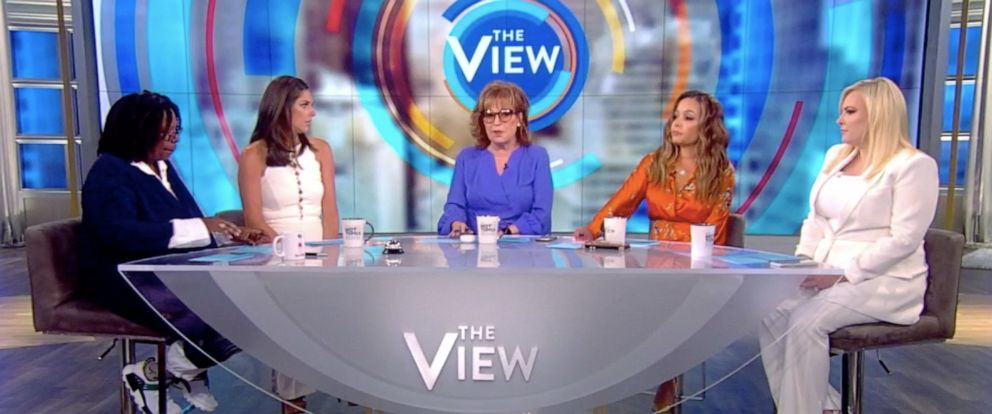 "PHOTO: ""The View"" co-hosts Whooi Goldberg, Abby Huntsman, Joy Behar, Sunny Hostin, and Meghan McCain discuss gun control on the season 23 premiere Tuesday, Sept. 3, 2019."