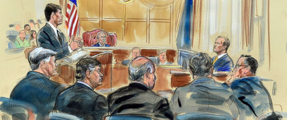 PHOTO: This courtroom sketch depicts Rick Gates, right, answering questions by prosecutor Greg Andres as he testifies in the trial of Paul Manafort, seated second from left, at the Alexandria Federal Courthouse in Alexandria, Va., Aug. 6, 2018.