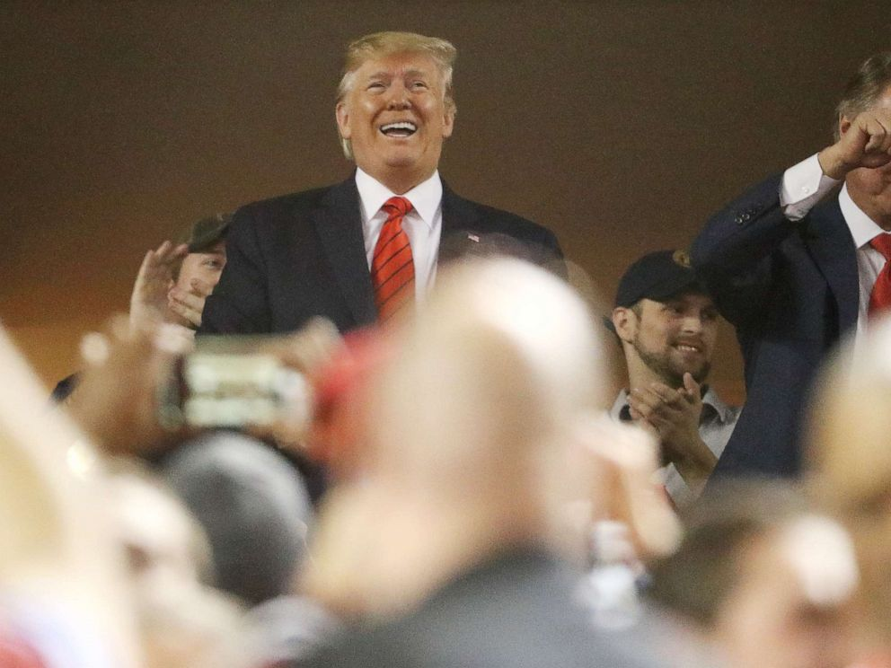 PHOTO: WASHINGTON, DC - OCTOBER 27: President Donald Trump attends Game Five of the 2019 World Series between the Houston Astros and the Washington Nationals at Nationals Park on October 27, 2019 in Washington, DC. (Photo by Patrick Smith/Getty Images)
