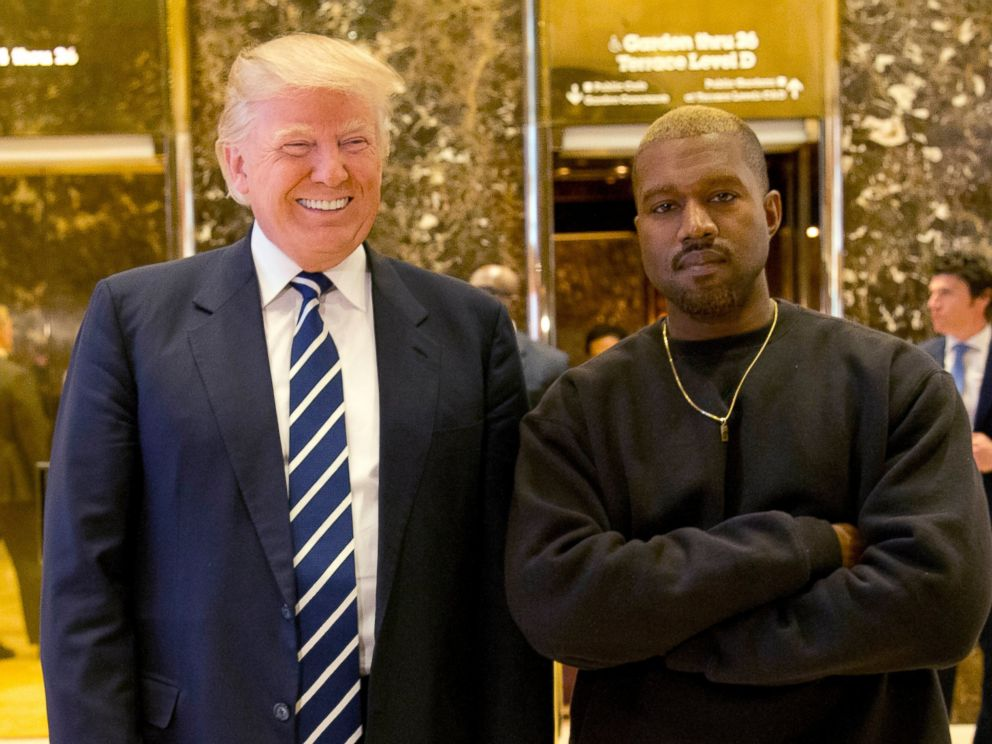 PHOTO: In this Dec. 13, 2016, file photo, President-elect Donald Trump and Kanye West pose for a picture in the lobby of Trump Tower in New York.