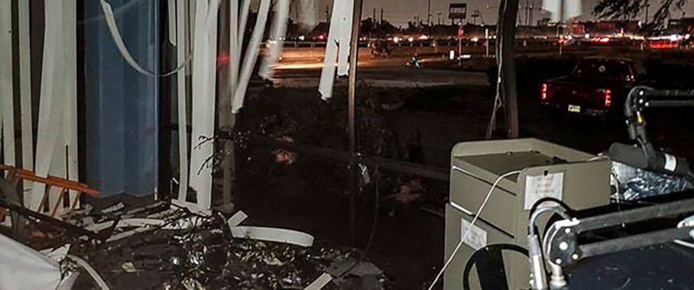 PHOTO: In this Sunday, Oct. 20, 2019, damage to the Reckless Rock Radio station studio is seen after a tornado touched down in Dallas, Texas, causing structural damage and knocking out electricity to thousands. (Lew Morris via AP)