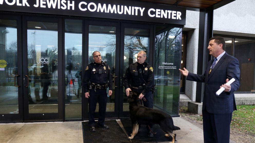 Brighton Police Chief Mark Henderson said there was no bomb found and investigation into the threat continues at the Louis S. Wolk Jewish Community Center, March 7, 2017, in Rochester, N.Y.