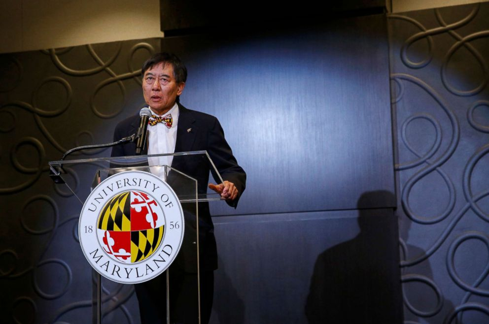 PHOTO: University of Maryland President Wallace Loh speaks at a news conference to address the schools football program and the death of offensive lineman Jordan McNair, who collapsed on a practice field, in College Park, Md., Aug. 14, 2018.