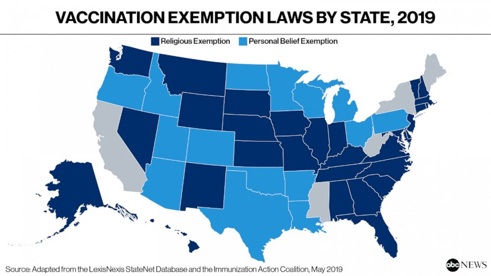 Vaccination Exemption Laws by State, 2019