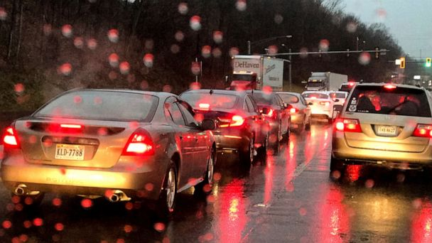 Rain, snow and freezing temperatures move across to the East