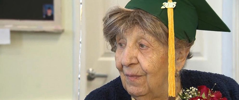PHOTO: Clare Picciuto from North Reading, Massachusetts, was surprised with an honorary high school diploma for her 100th birthday.