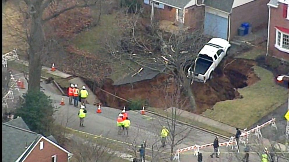 30-Foot-Wide Sinkhole Swallows Front Yards In Pennsylvania