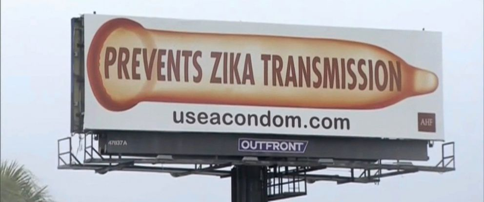 """PHOTO: The AIDS Health Foundation launched a billboard campaign earlier this month in Floridas Miami-Dade and Broward counties featuring an illustration of an unfurled condom with the words """"Prevents Zika Transmission."""""""