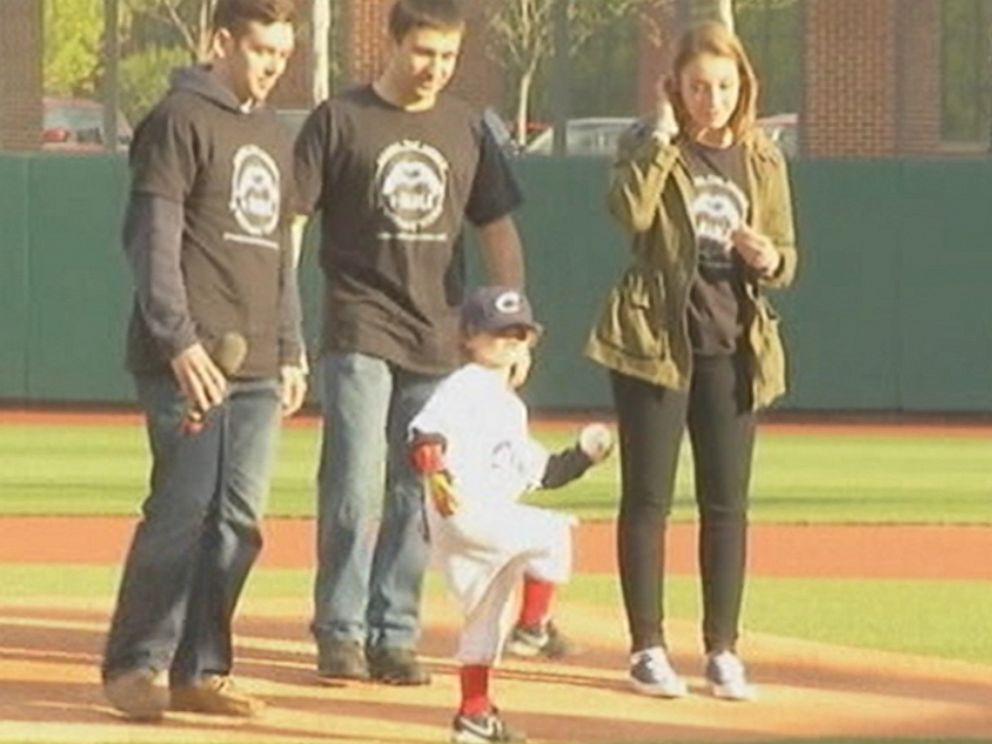 PHOTO: Five-year-old Jack Carder is pictured throwing the first pitch at a Columbus Clippers game on April 21, 2015.