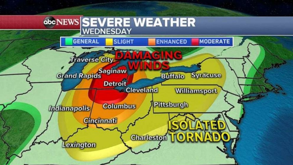 Severe Weather Forecast From Great Lakes To Northeast Abc News