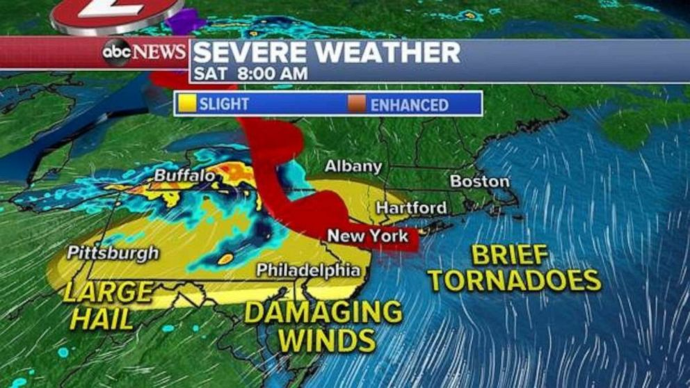 Radar Map Eastern Us Major East Coast cities forecast to see severe weather Saturday