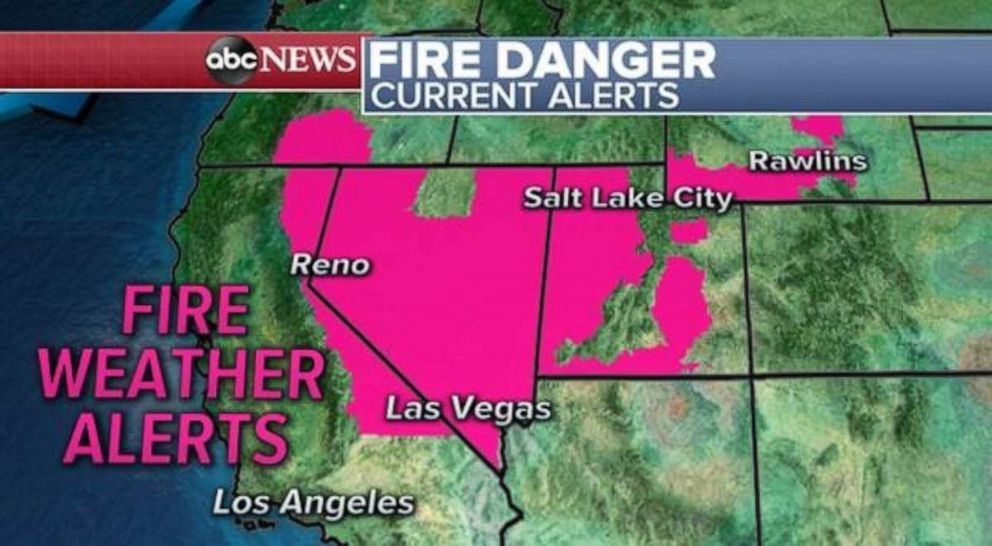 PHOTO: Fire alerts exist across most of Nevada today.